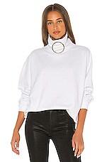 Frankie B Claudette Ring Mock Neck Sweatshirt in White