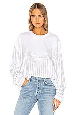 Frankie B Sinead Pinstripe Crystals Boyfriend Crew Sweatshirt in White