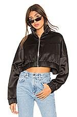 Frankie B Satin Track Jacket in Black