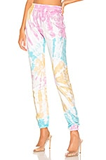 Frankie B Kendall Crystals Stripe High Rise Sweatpant in Tie Dye
