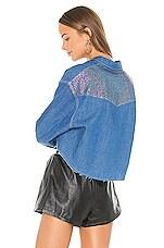 Frankie B Chiara Crystals Cropped Denim Shirt in Indigo