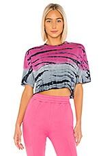 Frankie B Naomi Crystals Short Sleeve Tee in Pink & Blue Tie Dye