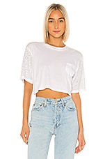 Frankie B Naomi Crystals Cropped Tee in White