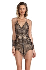 For Love & Lemons Antigua Mini Dress in Black