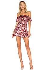 For Love & Lemons Flora Off Shoulder Mini Dress in Berry Floral