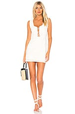 For Love & Lemons Charlotte Eyelet Lace Up Mini Dress in White Heart