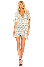 For Love & Lemons Sweetheart Wrap Mini Dress in Creme