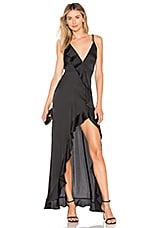 For Love & Lemons Isabella Ruffled Maxi Dress in Black