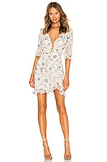 For Love & Lemons Elyse Flirty Mini Dress in Lurex Floral