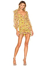 For Love & Lemons Beaumont Mini Dress in Yellow