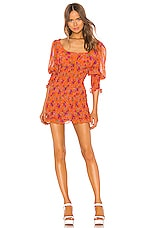 For Love & Lemons Peony Mini Dress in Tangerine