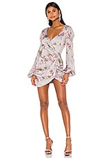 For Love & Lemons Jardin Floral Mini Dress in Gris