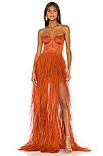 For Love & Lemons X REVOLVE Bustier Gown in Rust
