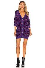 For Love & Lemons Marielle Cardi Sweater Dress in Purple
