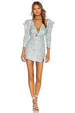 For Love & Lemons Reese Power Shoulder Mini dress in Powder Blue