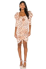 For Love & Lemons Aster Floral Midi Dress in Peach Floral
