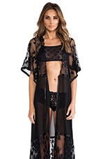 SKIVVIES by For Love & Lemons Anastasia Robe in Black
