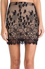 Flower Bomb Slip Skirt in Black & Nude