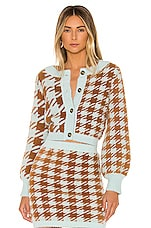 For Love & Lemons Cher Houndstooth Cardigan in Toffee