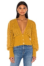 For Love & Lemons Francois V Neck Pointelle Sweater in Mustard