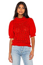 For Love & Lemons Francois Puff Sleeve Pointelle sweater in Hot Red