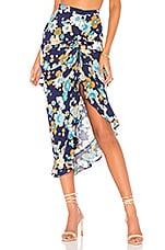 For Love & Lemons Magnolia Shirred Midi Skirt in Midnight Blossom