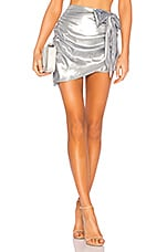 For Love & Lemons Black Jack Mini Skirt in Silver