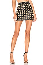 For Love & Lemons Deco Stud Skirt in Gold