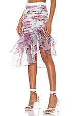 For Love & Lemons X REVOLVE Asymmetric Ruffle Skirt in Pink & Blue Floral