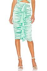 For Love & Lemons X REVOLVE Ruched Midi Skirt in Green
