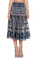 Barcelona Midi Skirt in Black & Blue