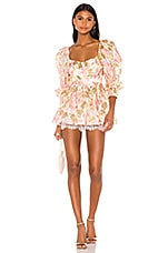For Love & Lemons Madame Brocade Babydoll Romper in Rose
