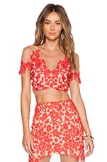 For Love & Lemons Luau Crop Top in Red & Nude