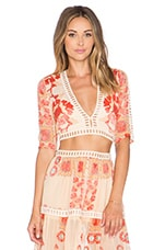 For Love & Lemons Barcelona Crop Top in Creme