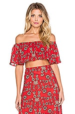 For Love & Lemons Pia Crop Top in Red