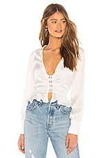 For Love & Lemons Isabella Rouched Top in White