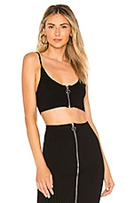 For Love & Lemons Harley Zipper Crop Top in Black