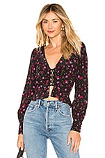 For Love & Lemons Isabella Ruched Top in Cherry Blossom