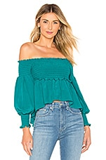 For Love & Lemons X REVOLVE Off The Shoulder Blouse in Emerald