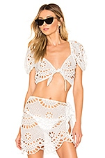 For Love & Lemons Cookies N Cream Tie Front Top in Ivory Eyelet