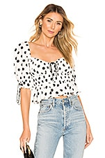 For Love & Lemons Mochi Summer Blouse in Ivory Dot