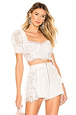 For Love & Lemons Indio Lace Crop Top in White