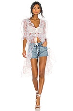 For Love & Lemons X REVOLVE Duster Tie Top in Pink & White Floral