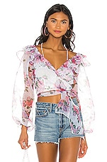 For Love & Lemons X REVOLVE Ruffle Wrap Top in Pink & Blue Floral