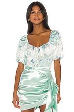 For Love & Lemons Limelight Bodysuit in Blue Floral