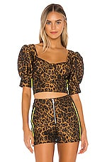 For Love & Lemons Jett Bustier Top in Leopard