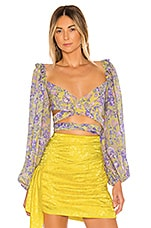For Love & Lemons Maui Wrap Top in Yellow