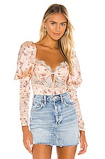 For Love & Lemons Aster Floral Bodysuit in Peach Floral