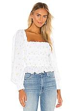 For Love & Lemons Azalea Crop Top in White Floral