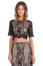 Wild Flower Crop Top in Black & Nude